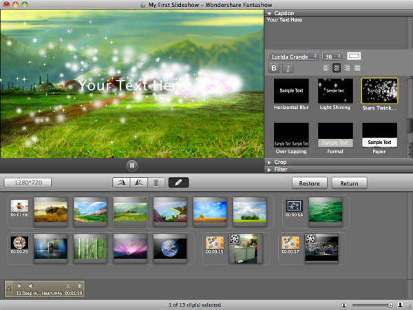 Slideshow Maker for Mac - Make Movie with Photos Songs and