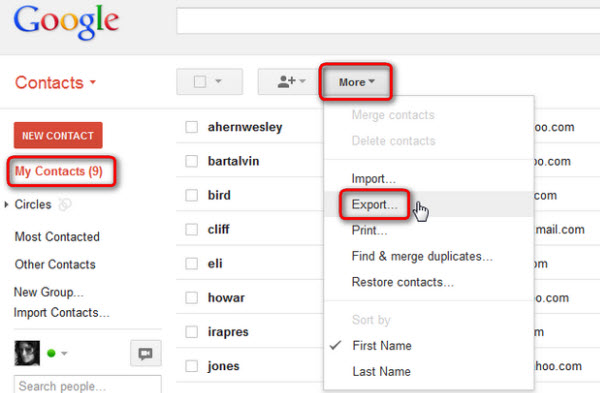 Backup Contacts with Gmail