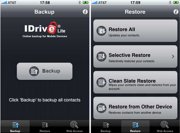 Backup contacts with iDrive Lite