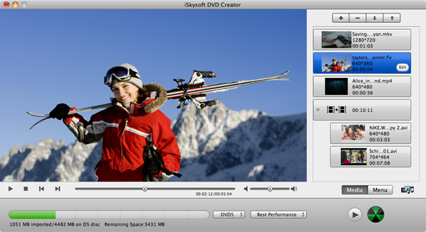 Add Videos to DVD Creator for Mac