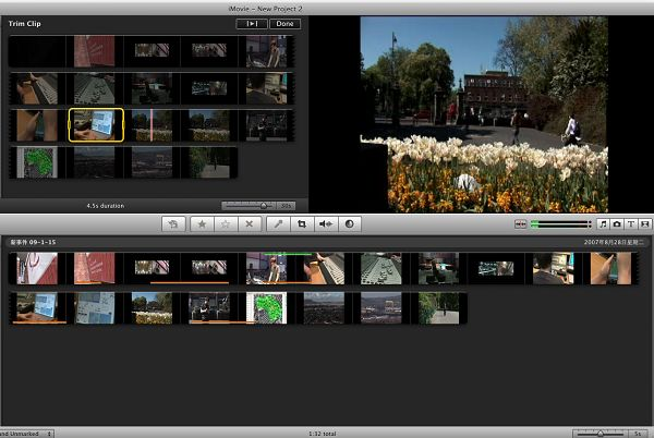 arrange imovie video clips