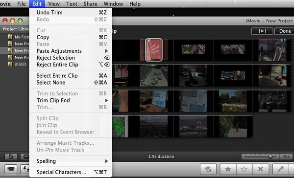 trim video with imovie