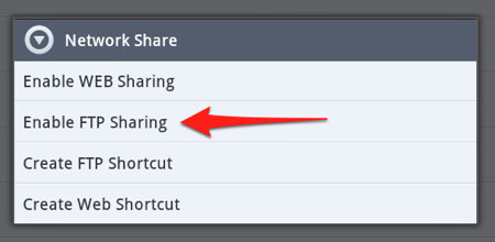Enable Android FTP Sharing