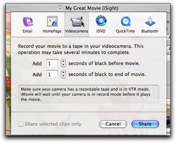How to export Mac iMovie Project to DVD, Quicktime and Camera